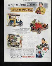 TEXACO gas oil havoline jaloppy car museum art image 732 1945 Vintage Print Ad