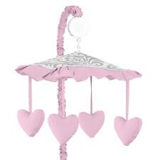 Sweet Jojo Design Musical Mobile For Pink Gray White Elizabeth Crib Baby Bedding