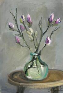 Print of Original oil painting art floral magnolia bud impressionism shabby chic