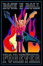 ROCK N ROLL FOREVER - BLACKLIGHT POSTER - 24X36 FLOCKED MUSIC SKELETON 1982