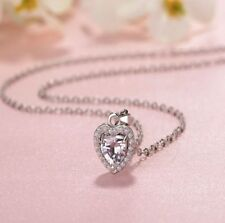 "18"" Sterling Silver 6mm Cubic Zirconia Love Heart Pendant Necklace Gift Box S2"