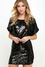 Womens JESSICA SIMPSON Black Sequin Formal Party Dress Deep V Back Size 8
