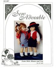 Sew Adorable Doll Clothes Pattern, fits American Girl, Jeans Skirt, Blouse Vest