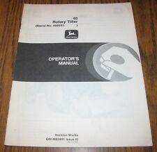 John Deere 1050 950 850 Tractor 40 Rotary Tiller Operators Manual 450551-505000