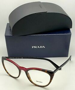 New Rx-able PRADA Eyeglasses VPR 07V 320-1O1 53-20 Tortoise & Red Cat-Eye Frames