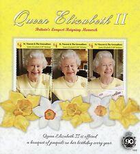 St Vincent & Grenadines 2016 MNH Queen Elizabeth II Longest Reign 3v M/S Stamps