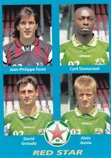 n°414 VIGNETTE PANINI CHAMPIONNAT DE FRANCE 1996 4 joueurs RED STAR