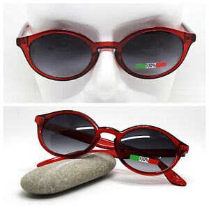 Made IN Italy Sunglasses Woman Oval Clear Red Nuanced Black Vintage