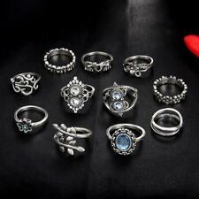 Boho 925 Sterling Silver Tibetan Tibet Vintage Engagement Wedding Ring 11 Pcs