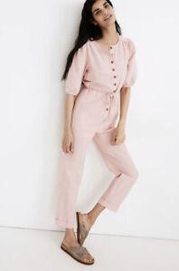 Madewell Linen-Blend Puff Sleeve Tassel-Tie Jumpsuit SZ S