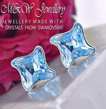 925 Silver Studs Earrings Crystals From Swarovski® Twister - Aquamarine 10.5mm