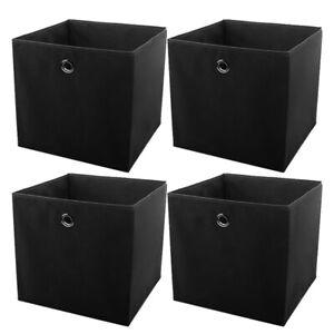 4/8/12/16Faltbox inder Farbe Faltkiste 32x32cm Regalkorb Regalbox Kinder Schwarz