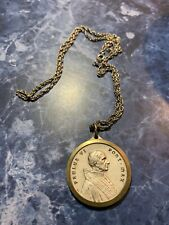 Vintage 1970's Silver Gold Tone Chain Necklace w/ Pope Paulus VI medal