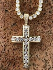 14k Gold Over Real Solid 925 Silver Channel Set Cross Diamond W. Chain Men's ICY