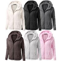 Women Hooded Sweater Coat Jacket Winter Warm Wool Cotton Hoodies Outwear Tops UK