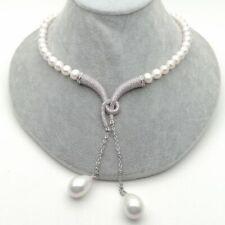 "20"" Cultured White Pearl Necklace White Sea Shell Pearl cz pave Pendant"