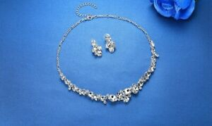 Oval Cut Crystal Necklace and Earrings Set -  New In Gift Box