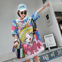 Sailor Moon Oversize T-shirts Cute Sequin Lace Women Long Loose Shirts Dresses