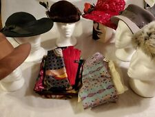 MIXED LOT OF 6 VINTAGE WOMEN'S HATS  20 SCARF