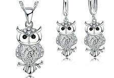 Owl Set Silver Fashion Pendant Necklace & Earrings Set W/ Swiss CZ Stones