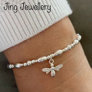 Bee Bracelet Sterling Silver Beaded Stretch Stacking Bracelet With Bee Charm
