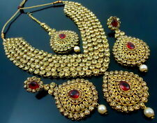 MAROON LCT CZ GOLD TONE BOLLYWOOD NECKLACE SET 4 PCS PARTY WEAR BRIDAL JEWELRY