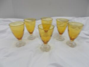 """Vintage Set of 6 Anchor Hocking Boopie Amber 4 1/2"""" Tall Juice Glasses"""