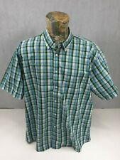 Losan Mens Shirt 3xl Plaid  Check Blue Green Short Sleeve <<P2>>