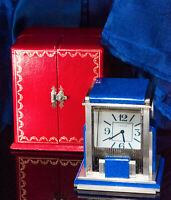 Rare Vintage Cartier Mystery Prism Lapis Clock w/ Coin Edge Case & Original Box