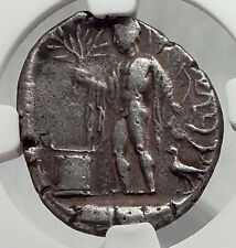 SIDE Pamphylia 400BC Ancient Silver Stater Greek Coin ATHENA APOLLO NGC i62054