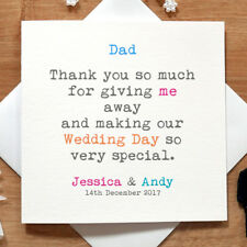 Personalised Handmade Thank You For Giving Me Away Card - Wedding Day, Love