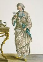 Art Print Rococo Court Dress Panniers Fashion Plate 1780 Male Model Chamber Robe