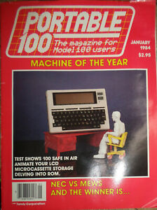 """Portable 100 Magazine. January 1984 """"Machine Of The Year"""" - for TRS-80 Model 100"""