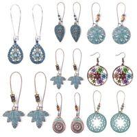 Vintage Hollow Leaf Bead Earrings Long Dangle Drop Alloy Fashion Women Jewelry