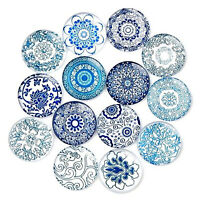 20PCS Mixed Glass Blue & White China Flatback Decor Cab Ornament DIY Accessories