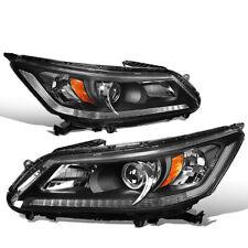 For 2013-2015 Honda Accord Sedan Black Amber Projector Headlights Left+Right