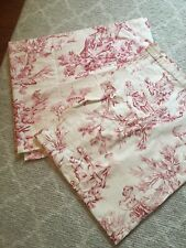 "Pair Of Country Curtains Lexondale Red Toile  Valances 78"" x 15"" EUC"
