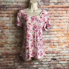Croft & Barrow  Women's Size Large Textured Pink Floral Stretch Casual T Shirt