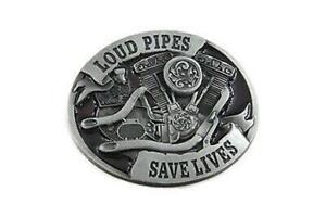 Loud Pipes Save Lives Harley-Davidson Evolution Big Twin Belt Buckle