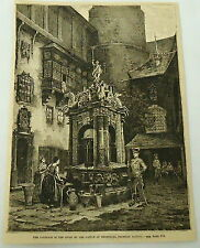 1881 magazine engraving ~ FOUNTAIN IN THE COURT ~ Castle of Merseburg, GERMANY