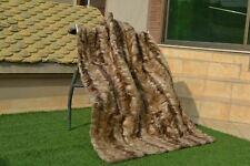 "Natural Muskrat Musquash Mink Real Fur pelz Blanket Xl Throw 57""x43"" rug B3761"