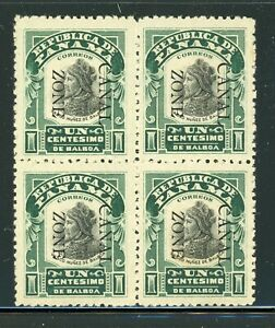 CANAL ZONE MLH Multiple Selections: Scott #22 1c Green/Black DOWN CV$9+