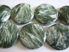 18mm Coin Shape Seraphinite 2 Pcs Stones Beads @