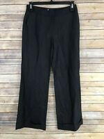 Boden Womens Pants Wool Linen Wide Leg Trouser Ankle Cuff Solid Size 10