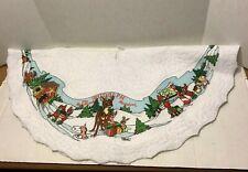 Rudolph The Red Nosed Reindeer Christmas Tree Skirt Felt Vintage Scalloped Edge