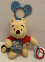 "Disney Baby Winnie the Pooh Plush Teether Ring Car Seat Shopping Cart Toy 9"""