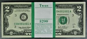 Pack of 100 $2 Federal Reserve Notes CU Consecutively Numbered