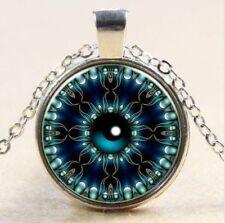 Vintage Evil eye  Cabochon Tibetan silver Glass Chain Pendant Necklace kt41