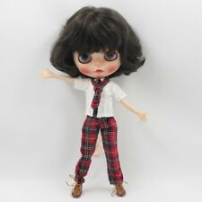 Blythe Preppy Outfit Set of 3: Dressshirt, Plaid Pants, Plaid Tie 3 pc