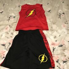 little boys outfit short/sleeveless shirt size 4/5 xs brand justice league red